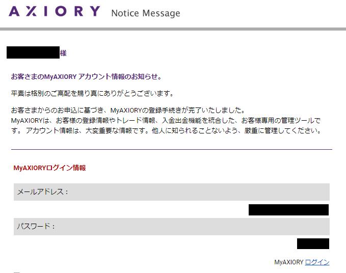 axioryから届くmyaxioryアカウントのログイン情報