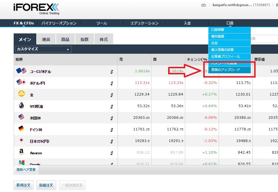 iforex書類アップロード画面への入り方